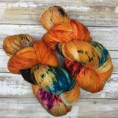 Hand Dyed Yarn Superwash Merino Wool/Nylon Blend Fluffy