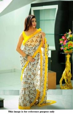 Color : Yellow Saree Fabric : Printed Georgette With Ruffle Satin Zalar With Pari Lace Blouse Fabric : Heavy Satin Saree Size : Mtr Blouse Size : Mtr Quality check done. Lace Saree, Organza Saree, Silk Sarees, Georgette Sarees, Saree Floral, Sari Silk, Saree Blouse Neck Designs, Saree Blouse Patterns, Frock Patterns
