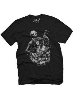 "Men's ""Harmony of Death"" Tee by Fifty5 Clothing (Black) #Inkedshop #harmony #death #skull #skeleton #music #tshirt #graphictee"
