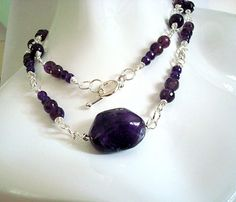 Necklace  African Amethyst  40 inches of by CrookedCrystal on Etsy, $47.99