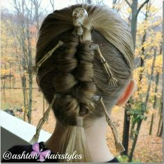 Mummy skeleton hairstyle with a Dutch infinity braid - so fun for Halloween or crazy hair day Crazy Hair Day Girls, Crazy Hair Day At School, Days For Girls, Crazy Hair Days, Little Girl Hairstyles, Braided Hairstyles, Cool Hairstyles, Halloween Hairstyles, Wacky Hair Days