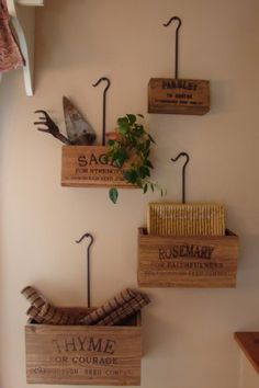 Amazon.com - Set of 4 Nesting Crates Boxes Living Wall Vintage Look Farm Advertising Scarborough Seed Company Thyme Rosemary Sage Parsley - Home Storage Baskets