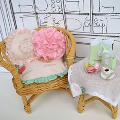 Little Parisian Tea Set for Blythe or similar size Doll - French Macaron Collection 1 6 Scale Dollhouse
