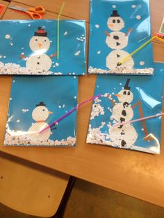 Cut and paste snowman. In jnsteekhoes, confetti snow, straw in it and blowing! School Age Activities, Snow Activities, Preschool Activities, Christmas Crafts For Kids, Winter Christmas, Holiday Crafts, Winter Art, Winter Theme, Toddler Stocking Stuffers
