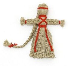 linen yarn doll  Love this...I used to make yarn dolls like this as a kid (minus the braids). The boy ones had tied legs. The red trim is like tied straw christmas goats, very Swedish-looking even though I think the tutorial is in Russian...