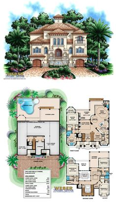 F3-4735 - Casa Bella II - 3 Story waterfront house plan with 4,735 square feet of living area.  4 bedrooms, 5 full baths, 1 half bath, 4 car garage.
