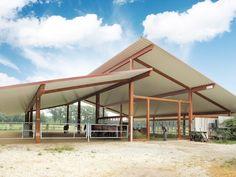 Cow Shed Design, Roof Design, Horse Stalls, Horse Barns, Cattle Barn, Farm Shed, Pavilion Design, Village House Design, Modern Barn
