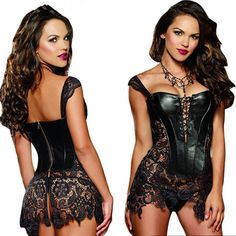 8b773e16ca Steampunk Women Lace Dress Party Prom corsets bustier Tutu skirt Plus size  Nightclub sexy lingerie
