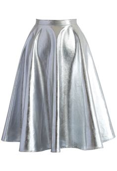 Silver Faux Leather A-line Midi Skirt