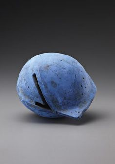 GORDON BALDWIN 'Blue Form', 1997 Earthenware, blue slip over black. 18 cm. high. Incised and painted with 'GB 97'