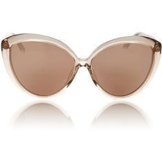 Linda Farrow     Lucite Cat Eye Sunglasses ($890) ❤ liked on Polyvore featuring accessories, eyewear, sunglasses, light pink, cat eye sunglasses, cat-eye glasses, cateye sunglasses, cat eye sunnies and acrylic glasses