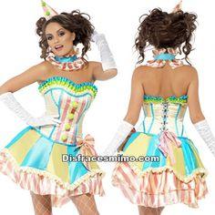 DisfracesMimo, disfraz de payasa colorida sexy mujer talla xs.Este llamativo Disfraz de Payasa Colorida para mujer..Este disfraz es ideal para tus fiestas temáticas de disfraces de payasos del circo,bufones y arlequines para mujer adultos.