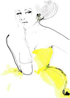 """Flirty Yellow"" fashion illustration by Kornelia Debosz"