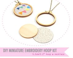 "DIY miniature embroidery hoop with necklace - 5.5cm/2.2"" hoop - make a necklace - unique Dandelyne miniature hoop"