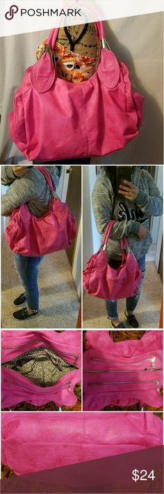 Hot pink large bag. Hot pink large bag.some small peeling seen last pictures not noticeable.No brandname.soft faux leather.black pompom not inclouded.Make me an offer. Bags Shoulder Bags