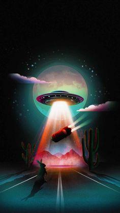 Alien Abduction Wallpaper - iPhone Wallpapers