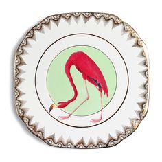 Fancy Flamingo Cake Plate by yvonneellen on Etsy https://www.etsy.com/listing/242238320/fancy-flamingo-cake-plate