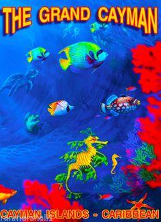The-Grand-Cayman-Islands-Caribbean-Island-Reef-Travel-Advertisement-Art-Poster