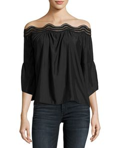 TUTBA Ramy Brook Priscilla Scalloped Lace Off-the-Shoulder Top, Black