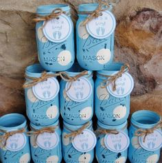 Mason Jar Centerpieces, Baby Shower Centerpieces, Blue and White Polka Dots, Shabby Chic Distressed Painted Mason Jars, Baby Shower Vases by charmcitycharm on Etsy Baby Shower Images, Baby Shower Table, Boy Baby Shower Themes, Baby Shower Favors, Baby Boy Shower, Shower Cake, Shower Party, Mason Jar Centerpieces, Baby Shower Centerpieces