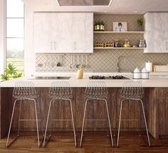 Design Styles to Consider for Your Upcoming Kitchen Remodel - Beauty and the Mist Grey Bar Stools, Counter Stools, Bar Chairs, Panel Led, Cuisines Design, Farmhouse Kitchen Decor, Kitchen Wood, Kitchen Mat, New Furniture