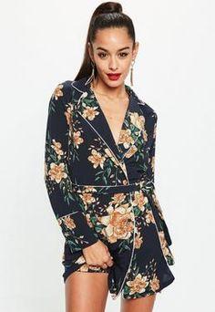 Navy Satin Floral Belted Wrap Shift Dress
