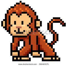 Vector illustration of cartoon monkey - Pixel design - stock vector