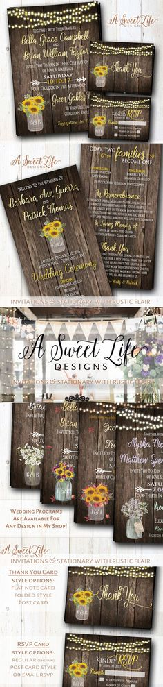 This beautiful sunflower themed invitation design package will set a warm and inviting tone for your rustic wedding! It's the perfect invite for a rustic summer (or fall) barn wedding, outdoor wedding, or a country wedding in any setting! It's adorned with sunflowers, string lights and a mason jar with a rustic barn wood background. #rusticwedding #countrywedding #barnwedding #sunflowers #summerwedding #weddinginvitations