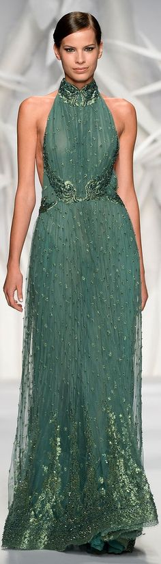 Abed Mahfouz Couture Fall-Winter 2013-2014 green gown