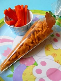 "Easter Snack ""Carrots"" (piping bag, can be filled with a variety of orange foods!) -- cheddar bunnies!!!"