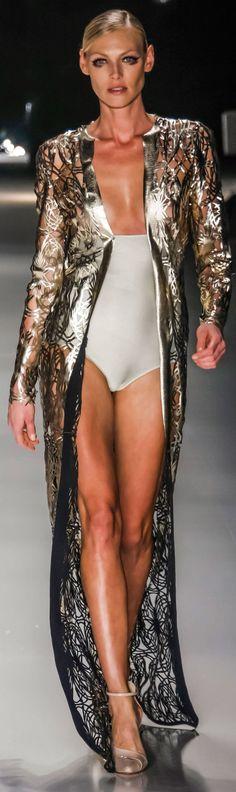 Laser cut foil coated fabric - Adriana Degreas Spring / Summer 2015