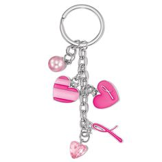 "Breast Cancer Key chain with 5 charms; a solid pink heart with the #breastcancer ribbon symbol, a striped pink heart, a small clear pink heart, and a pink faux pearl. Key chain: 3 1/2"" L For every bracelet purchased $1.20 will be donated to the Avon Foundation for Women Cancer Crusade."