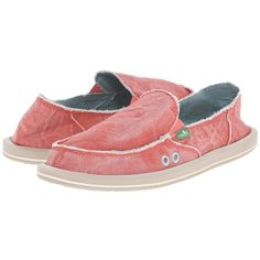 Sanuk Donna Distressed (Spiced Coral) Women's Slip on  Shoes ($60) ❤ liked on Polyvore featuring shoes, sanuk shoes, loafer shoes, destroy shoes, antimicrobial shoes and sanuk