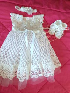 Christening Dress Set Baby Christening by SuziesTalents Baby Christening Dress, Baptism Dress, Crochet Girls, Crochet Baby Clothes, Little Girl Dresses, Girls Dresses, Baby Dress Patterns, Baby Knitting, Kids Outfits