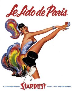 Le Lido de Las Vegas 1950's Stardust Hotel vintage showgirl poster