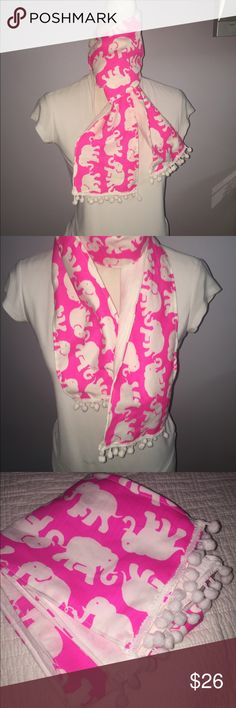 Tusk in Sun Pink Spring Elephant Scarf Brand new elephant scarf made with hot pink tusk in sun fabric and white Pompom trim💕💕 Accessories Scarves & Wraps