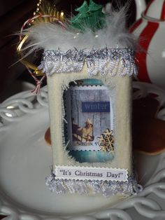 It's a White Christmas! Christmas Ornament. Made from a hotel soap box.
