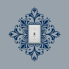 So cool in the dining room. Scroll Damask Light Switch Embellishment- Single, Sticker, Wall Graphic, item 30024. $8.00, via Etsy.