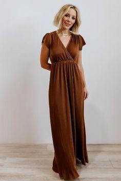 Athena Bronze Pleated Maxi Dress Bronze Dress, Bridesmaid Dresses, Wedding Dresses, Bridesmaids, Satin Material, Pleated Maxi, Tall Women, Maxi Wrap Dress, Short Sleeve Dresses