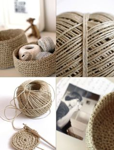 Hottest Free Crochet basket twine Ideas Great use to get rid of all my hemp. Crochet Diy, Crochet Home Decor, Crochet Gifts, Crochet Storage, Crochet Rope, Crochet Shoes Pattern, Crochet Basket Pattern, Basket Weave Crochet, Craft Ideas