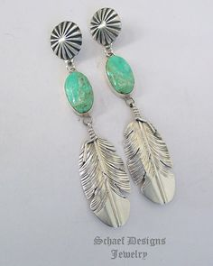 Turquoise & sterling silver long feather post earrings | Schaef Designs | New Mexico