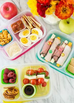 3 sandwich-free (and gluten-free!) school lunch ideas, including caprese skewers, creative turkey rolls, deviled eggs + more | Baked Bree
