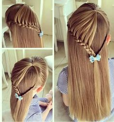 Half lace braid with simple braid tie back