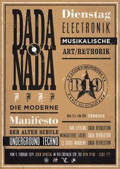 Every Dienestag/ Tuesday 'night  From the 4th February 014  (day of the global fight against the cancer)   DA DA Revolution Berlin +   Van Liebling Recordings +   Mongolfiere Libere Project +   LDM Le Droit Marasme Elektronix Mordu present:  DA DA o NA DA A.U.T.D + Art Welcome ( open space for artist )  24:00 until........ ????  Location: R19 Berlin Club R Neunzehn   = I.NOMAC = DDR  = KOROMOTO = DDR   = KURTIS VAN LIEBLING = VL  = GABRIEL SAVINGÉ b2b FABU = VL  = NICORUS = ML = VJ CHUUU…