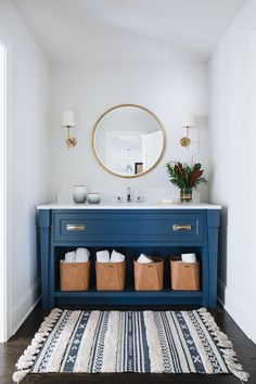 "Interior Design Ideas: Grey Shingle Home - Home Bunch Interior Design Ideas - ""Blue Vanity"" (Benjamin Moore Newburyport Blue) Bad Inspiration, Bathroom Inspiration, Home Design, Modern House Design, Layout Design, Design Ideas, Design Color, Design Styles, Design Design"