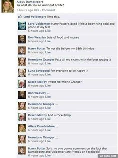 Harry potter if they had facebook