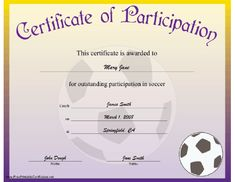 This certificate of achievement is awarded to someone showing outstanding achievement in the sport of soccer. Free to download and print