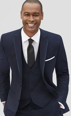 Get your navy blue tuxedo rental by Joseph Abboud from Men's Wearhouse. View our prestyled navy tuxedo looks for weddings, proms & special occasions. Blue Tuxedo Wedding, Grey Tuxedo, Tuxedo For Men, Wedding Suits, Navy Blue Tuxedos, Navy Blue Suit, Prom For Guys, Calvin Klein One, Blue Suit Jacket
