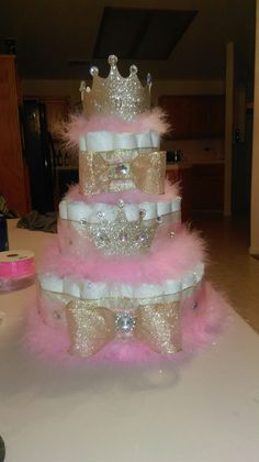 Diaper cake for a princess baby shower