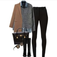 A fashion look from September 2015 featuring Zara sweaters, Isabel Marant coats and Topshop jeans. Browse and shop related looks. Casual Work Outfits, Business Casual Outfits, Mode Outfits, Work Casual, Winter Fashion Outfits, Fall Winter Outfits, Work Fashion, Autumn Fashion, Cooler Look